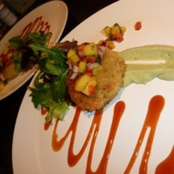 Crab Cakes With Mango Salsa, Spiced Tomato Glaze, ...