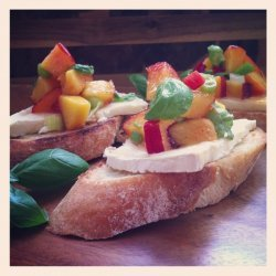 Fresh Peach Salsa & Brie Bruschetta
