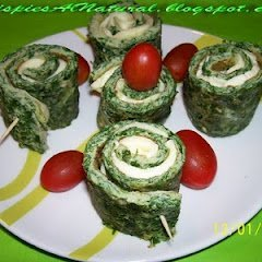 Spinach Tortilla Spirals With Cheese