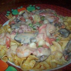 Seafood Stroganoff Over Old Bay Buttered Noodles
