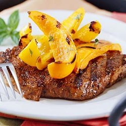 Peppered Ribeye Steak With Grilled Sweet Peppers