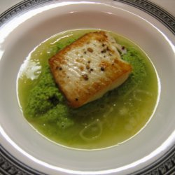 Fish In Lemon Brodetto With Pea Puree