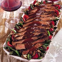 Ginger Flank Steak With Sake Glazed Vegetables