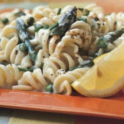 Pasta With Lemon Cream Sauce Asparagus And Peas