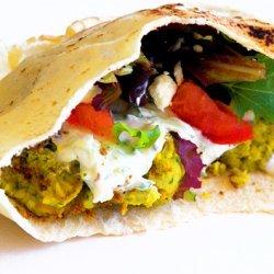 Pan Grilled Falafel On Pita With Tzatziki