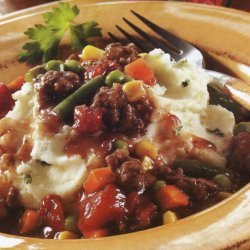 Ground Beef Stew Over Garlic Mashed