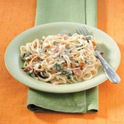 Linguine With Spinach And  Garlic Sauce