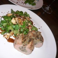 Mushroom Stuffed Pork Tenderloin And Mache Salad W...