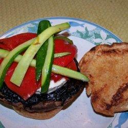 Organic Grilled Portabella Mushroom Burger With Ro...