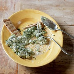 Crushed Peas with Feta and Scallions recipe