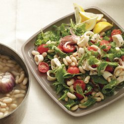 White Beans with Squid, Arugula, and Cherry Tomatoes recipe