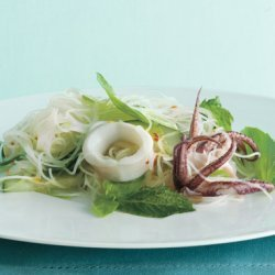 Southeast Asian Rice Noodles with Calamari and Herbs