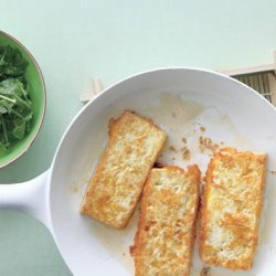 Panfried Tofu with Romano-Bean and Herb Salad recipe