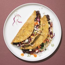 Crispy Black Bean Tacos with Feta and Cabbage Slaw recipe