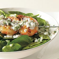 Shrimp Skewers with Tzatziki, Spinach, and Feta recipe