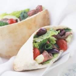 Lamb Souvlaki Sandwiches with Greek Salad and Tsatsiki Sauce recipe