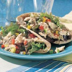 Tuna, Pickle, and Chopped-Vegetable Pita Sandwiches