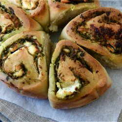 Courgette Goats Cheese And Garden Herb Pesto Bread
