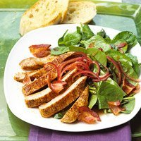 Spinach Salad With Ancho Chili Pepper Chops recipe