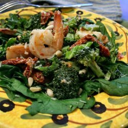 Shrimp Broccoli And Sun-dried Tomatoes With Spinac...