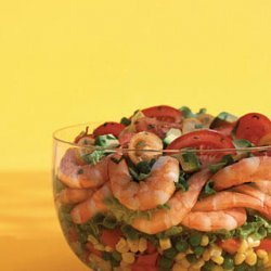 Layered Shrimp Corn And Pea Salad