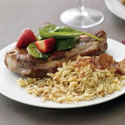Pork With Pine Nut Orzo And Strawberry Spinach Sal... recipe