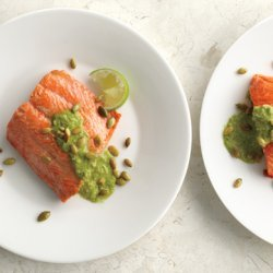 Pan-Seared Salmon with Pumpkin Seed-Cilantro Pesto