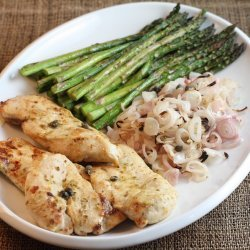 Chicken Cutlets with Asparagus, Capers, and Shallots