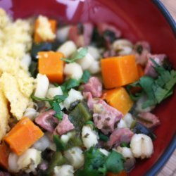 Spicy Turkey Chile Verde with Hominy and Squash