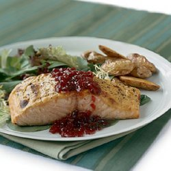 Mustard-Roasted Salmon with Lingonberry Sauce recipe