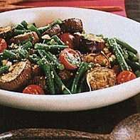 Tangy Eggplant, Long Beans, and Cherry Tomatoes with Roasted Peanuts recipe