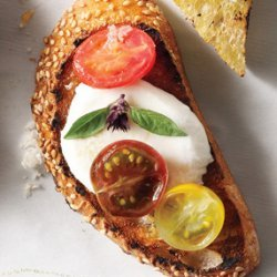 Tomato, Mozzarella & Thai Basil Crostini recipe
