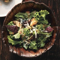 Raw Mustard Greens Salad with Gruyère and Anchovy Croutons recipe