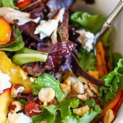 Grilled Peach, Chicken & Goat Cheese Salad Wit... recipe