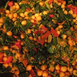 Spinach With Chickpeas And Peppers