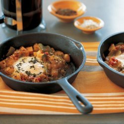 Damn Hot Peppers With Potato Hash With Baked Eggs recipe