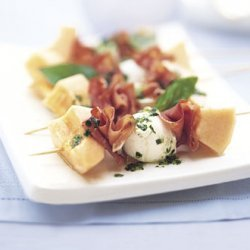 Brochettes of Melon, Prosciutto, and Fresh Mozzarella recipe