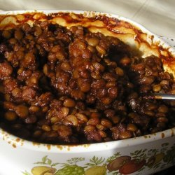 Baked Lentils With Tangy Barbeque Sauce