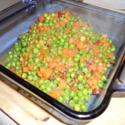 Peas And Carrots With Honey, Bacon, And Shallots