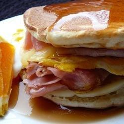Leftover Pancake Breakfast Sandwich
