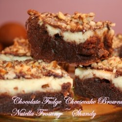 Chocolate Fudge Cheesecake Brownies With Nutella F...