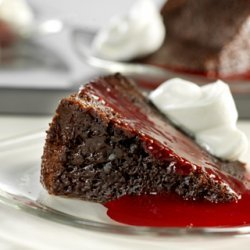 Triple Chocolate Pudding Cake With Raspberry Sauce