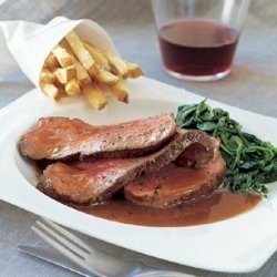 Beef Tenderloin with Red Wine Sauce, Creamed Spinach, and Truffled French Fries recipe