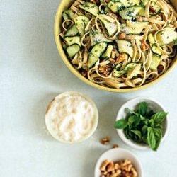 Fettuccine with Walnuts, Zucchini Ribbons, and Pecorino Romano recipe