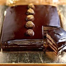 Dark Chocolate Caramel Cake With Gold Dusted Chest...