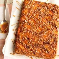 Upside Down Apricot Carmel Crunch Cake