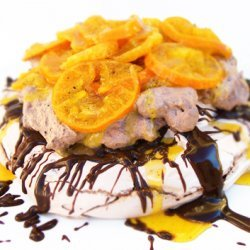 Chocolate Pavlova With Glaced Tangerines