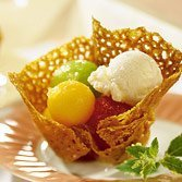 Almond Cookie Baskets With Melon