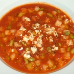 Vine Ripened Tomato Soup With Edamame New Potatoes...