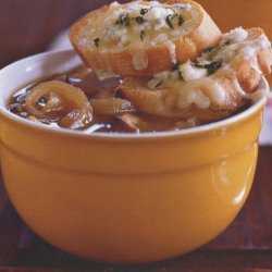 Carmelized Onion Shitake Soup With Gruyere Blue Ch...